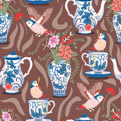 Garden Tea Blue Classic Pottery Vector Seamless Pattern