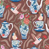 istock Garden Tea Blue Classic Pottery Vector Seamless Pattern 1284544716