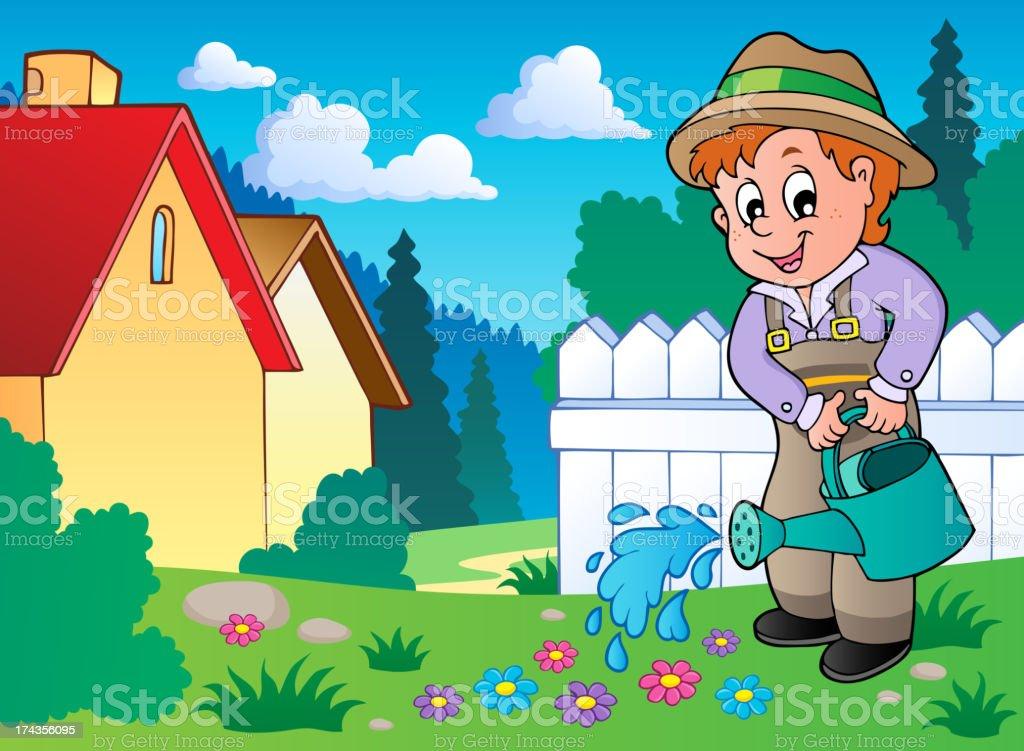 Garden theme image 1 vector art illustration