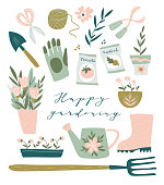 Garden tool set. Vector illustration of gardening elements:  spade, pitchfork, wheelbarrow, plants, watering can, grass,  garden gloves, cart and cute calligraphy. Happy gardening poster design.