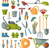 Garden tool vector gardening equipment rake or shovel and lawnmower of gardener farm collection or farming set illustration isolated on white background.