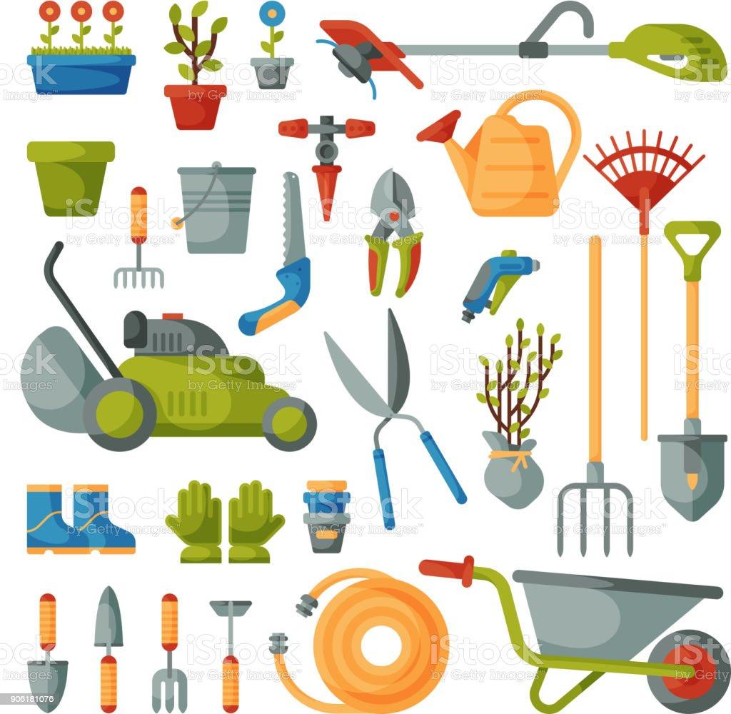Vector de herramienta de jardín jardinería equipo rastrillo o pala y cortacésped de colección de granja jardinero o cultivo conjunto ilustración aislada sobre fondo blanco - ilustración de arte vectorial