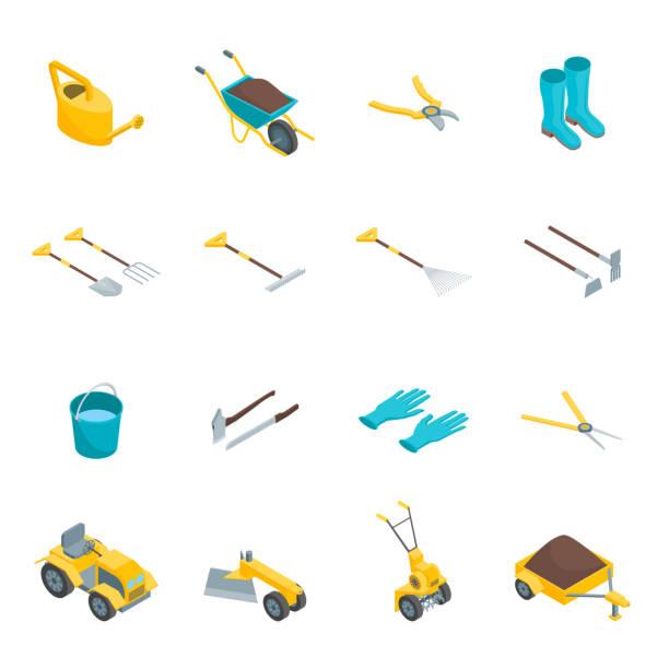 stockillustraties, clipart, cartoons en iconen met tuingereedschap 3d icons set isometrische weergave. vector - kruiwagen met gereedschap