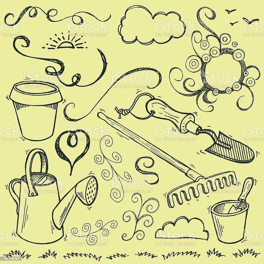 Garden Tools Doodles for Spring royalty-free stock vector art