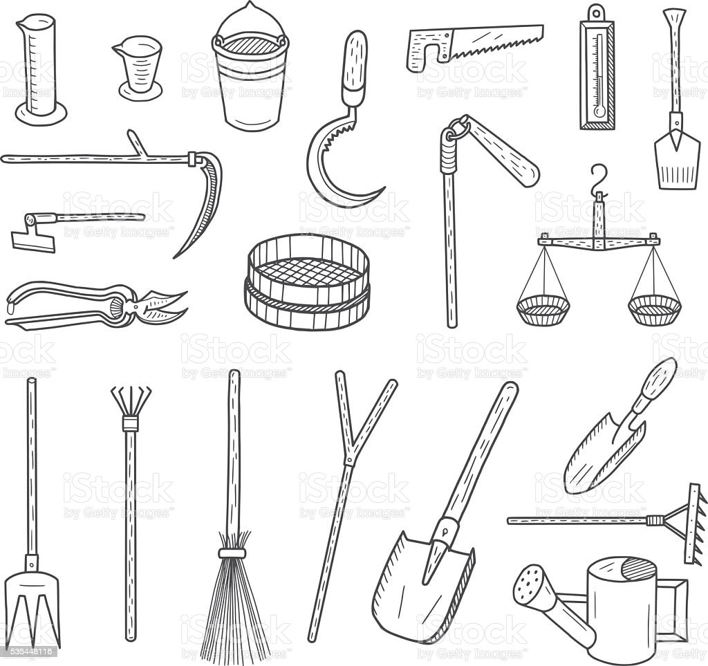 Garden Tools Doodles vector art illustration