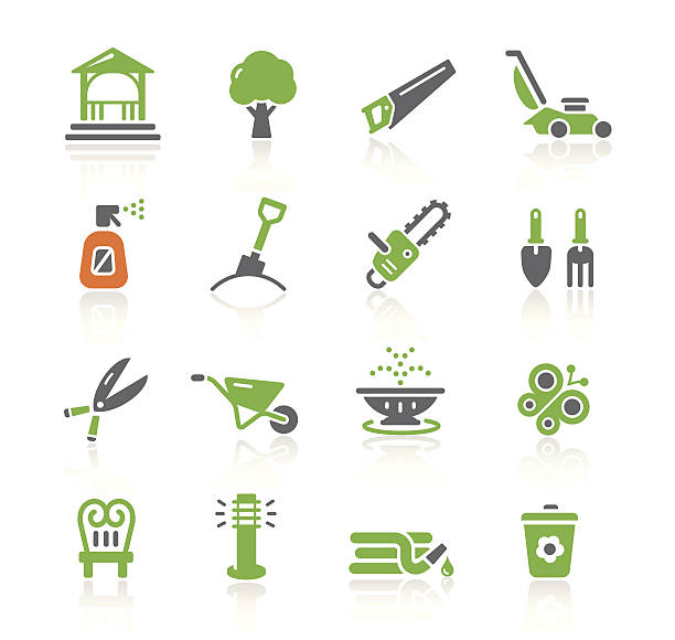 garden tools & furniture icons | spring series - composting stock illustrations