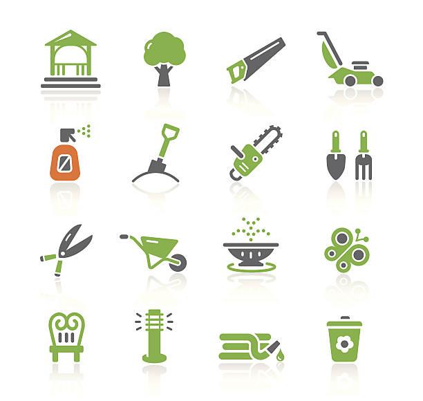 illustrazioni stock, clip art, cartoni animati e icone di tendenza di strumenti mobili giardino & icone/serie di primavera - composting