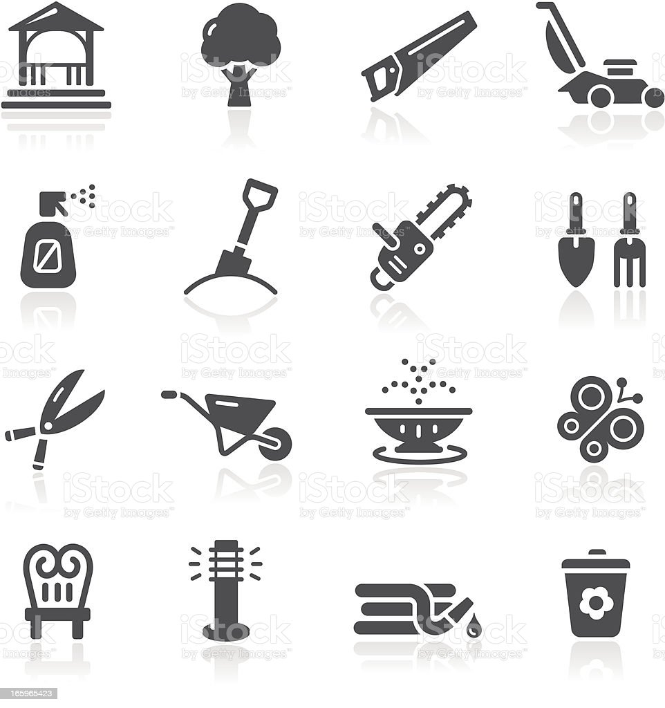 Garden Tools & Furniture Icons vector art illustration