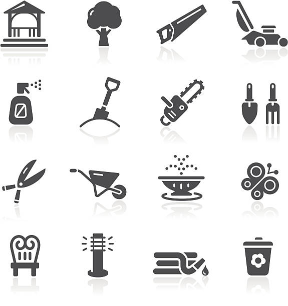 garden tools & furniture icons - composting stock illustrations
