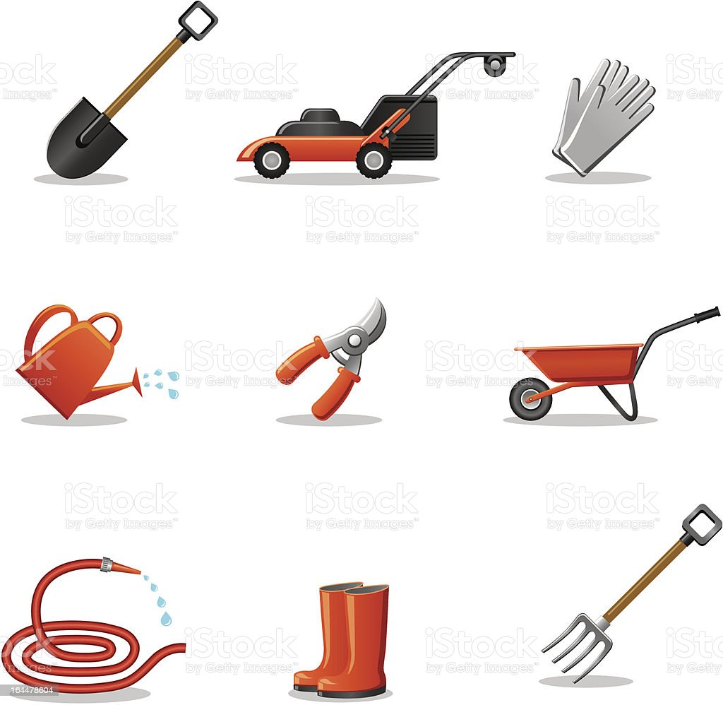 Garden tools icon set stock vector art more images of for Horticulture tools list