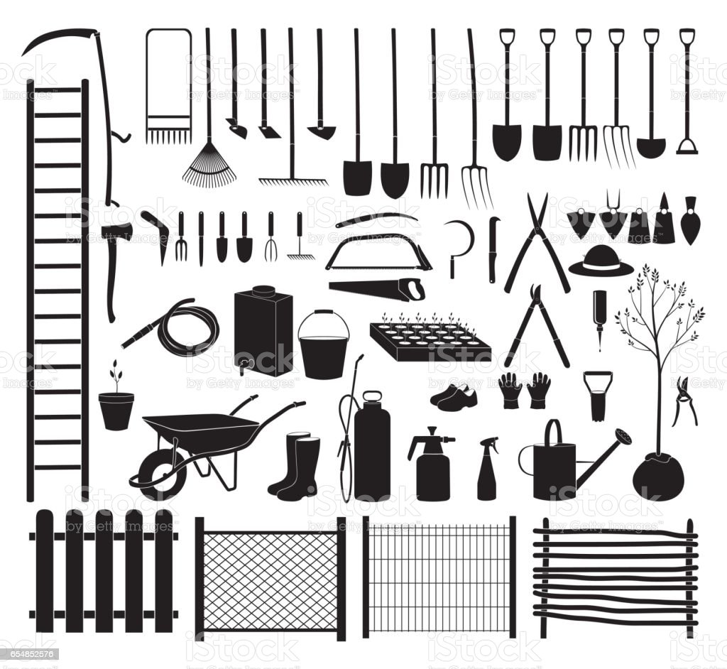 Garden tools icon set vector art illustration