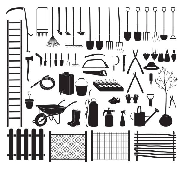 Garden tools icon set Various agricultural icon tools set for garden. Vector Illustration gardening equipment stock illustrations