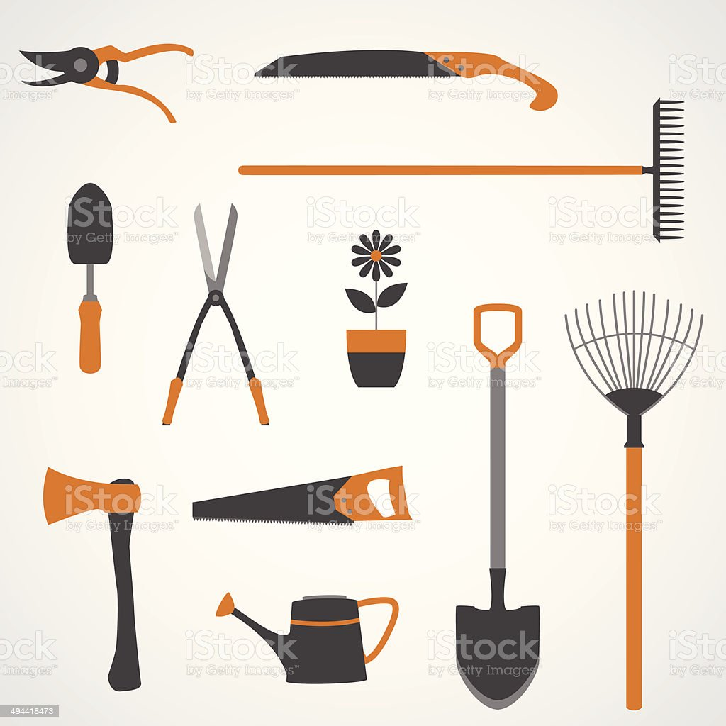 Garden Tools Icons vector art illustration