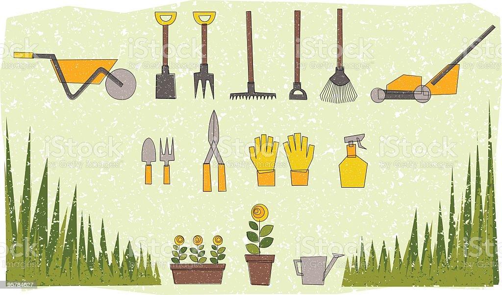 Garden tools illustration royalty-free stock vector art
