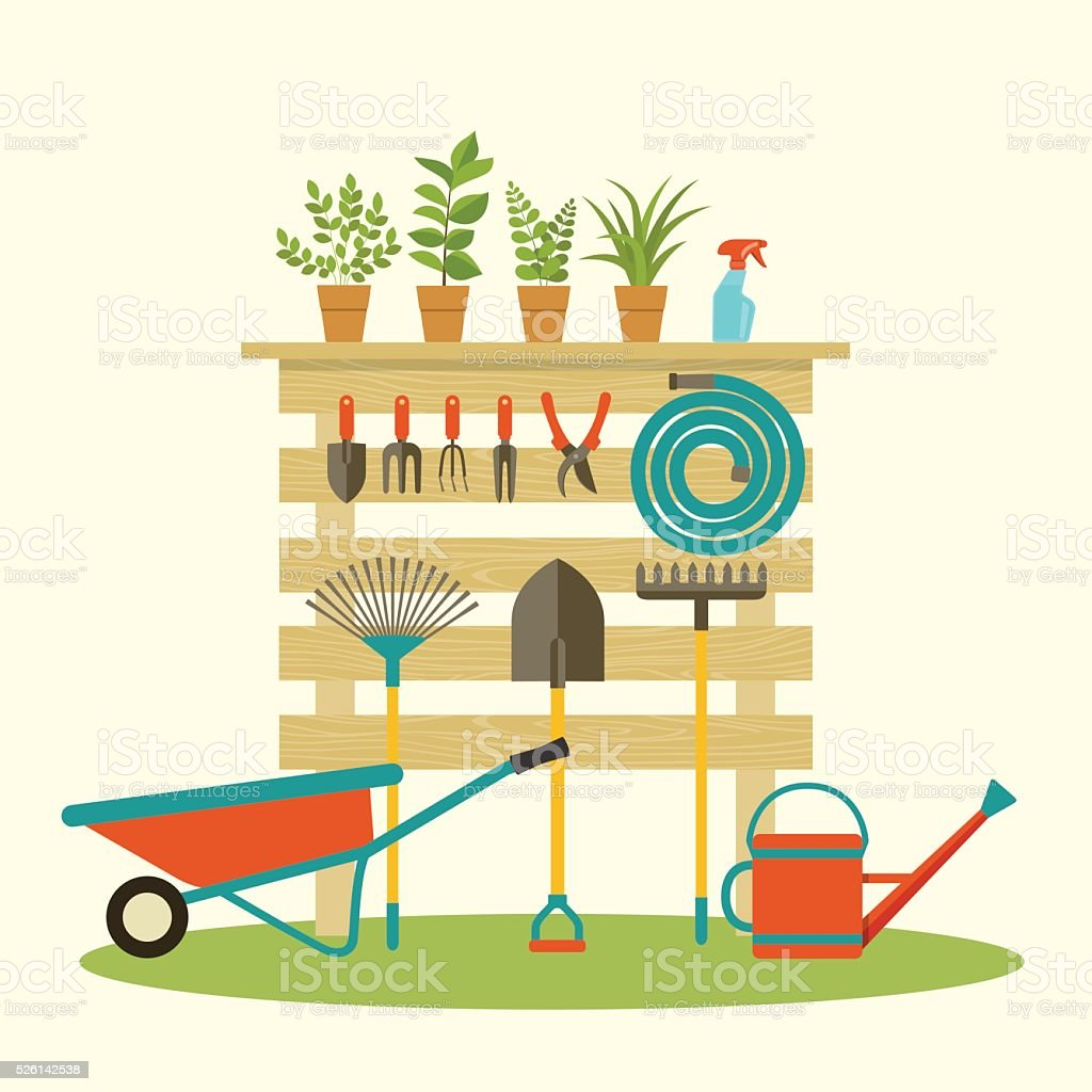 Garden tools. Potted plants. Vector flat illustration. vector art illustration