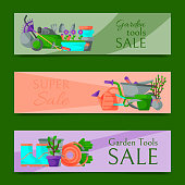 Garden tools sale horizontal set of banners vector illustration. Super sale of equipment. Wheelbarrow, trowel, fork hoe, boots gloves, shovel and spade, lawn mower, watering can. Plants, flowers