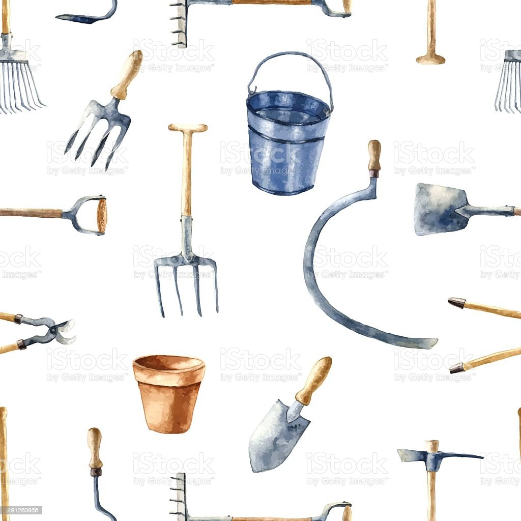 Garden tools set. vector art illustration