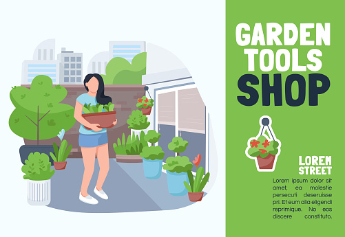 Garden tools shop banner flat vector template. Brochure, poster concept design with cartoon characters. Gardening equipment store, flower supermarket horizontal flyer, leaflet with place for text