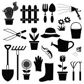 icon vector of gardening equipments in black and white can use for website or info graphic