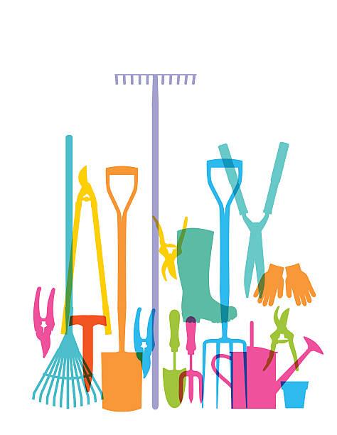 stockillustraties, clipart, cartoons en iconen met garden tools - kruiwagen met gereedschap