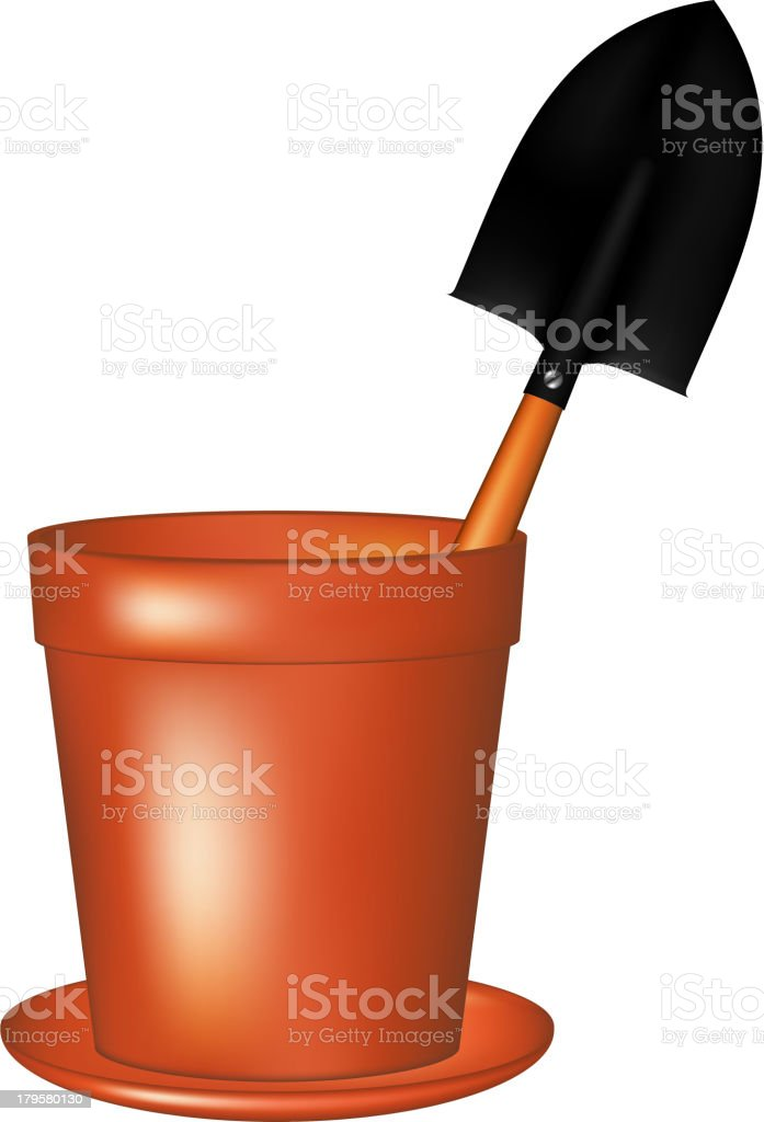 Garden trowel in terracotta flowerpot royalty-free garden trowel in terracotta flowerpot stock vector art & more images of agriculture