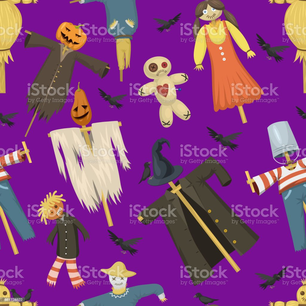 Garden ugly terrible fabric scarecrow vector fright bugaboo dolls on stiick and toy character dress from farm rag-dollseamless pattern background vector art illustration