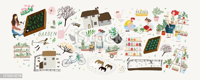 Garden! Vector cute illustration of woman and man cares for garden, potted plant and horses, grows organic vegetables and herbs on farm or at home. Drawings for a card, poster or postcard