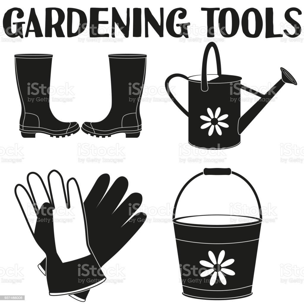 Garden watering 4 elements silhouette set. vector art illustration