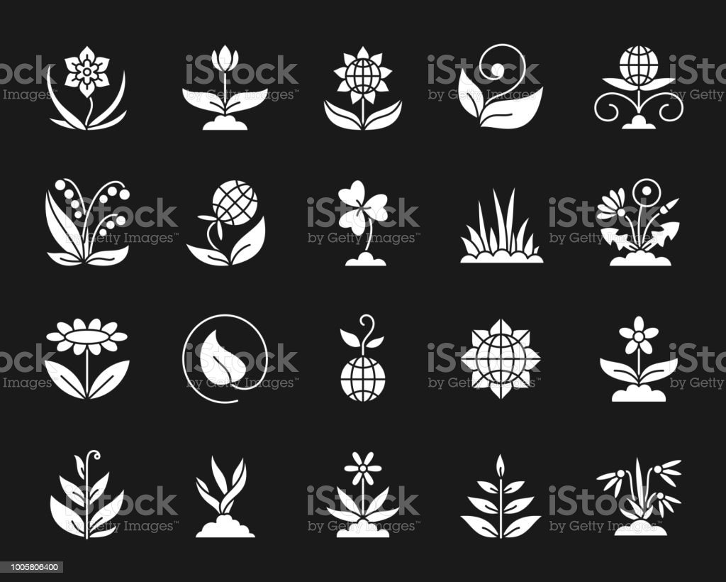 Garden white silhouette icons vector set on black