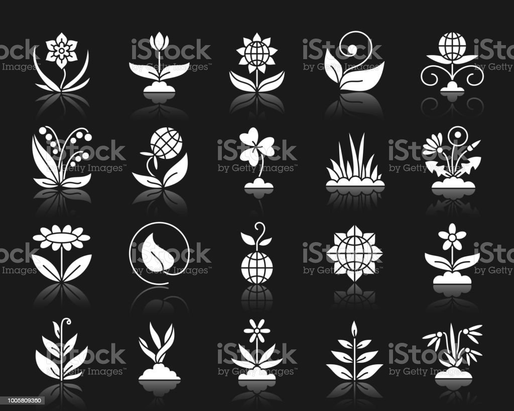Garden white silhouette icons vector set vector art illustration