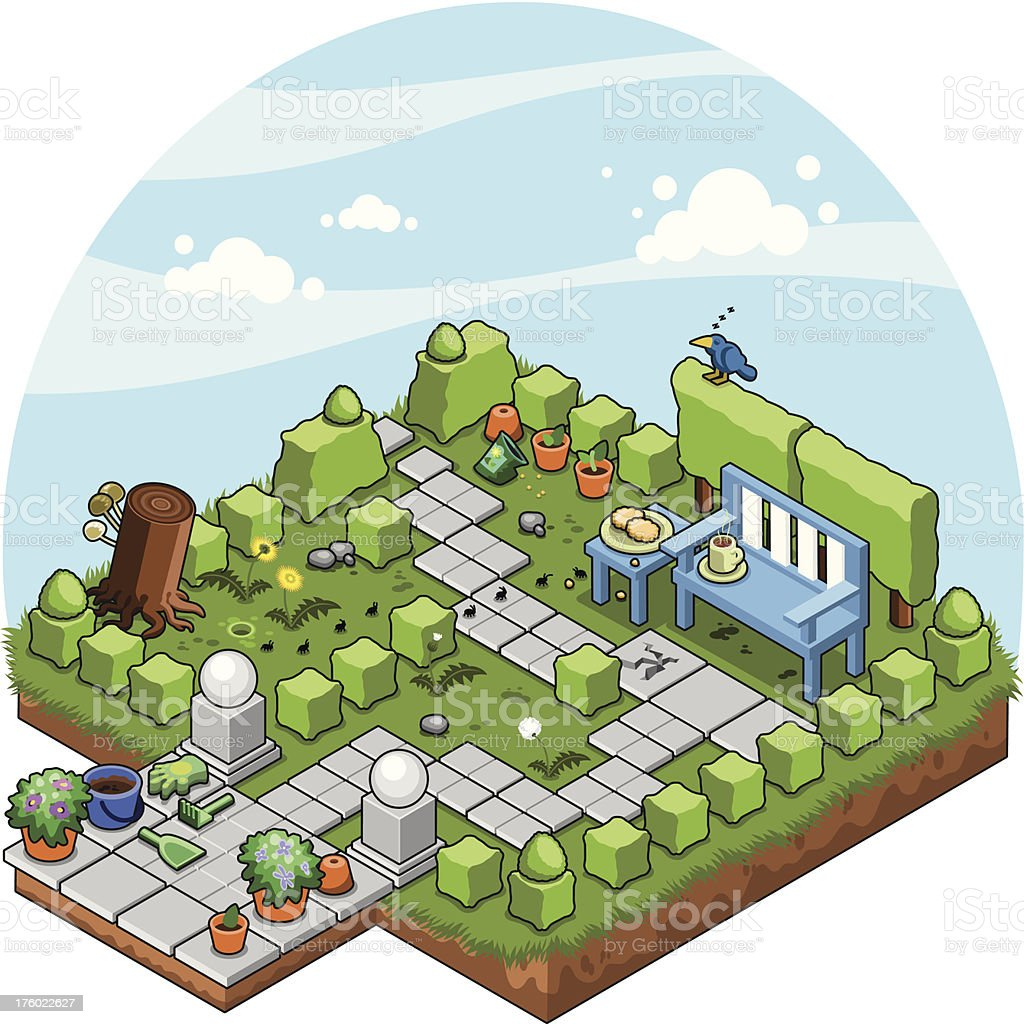 garden with cube-cut shrubs and bench (isometric view vector) vector art illustration