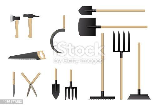 Garden work tools collection. Vector illustration. Set of horticulture equipment.