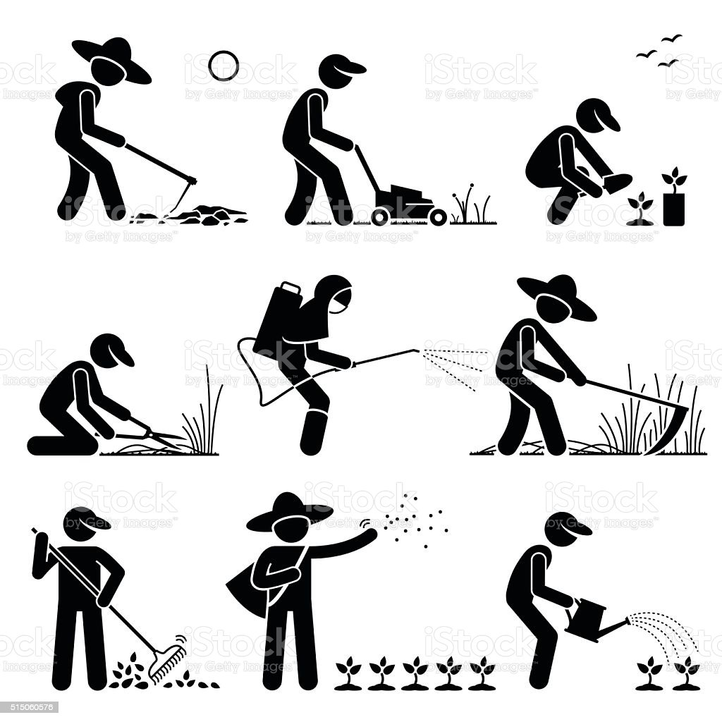 Gardener and Farmer using Gardening Tools and Equipment vector art illustration