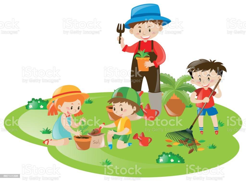 Prächtig Gärtner Und Viele Kinder Die Im Garten Arbeiten Stock Vektor Art &AF_22