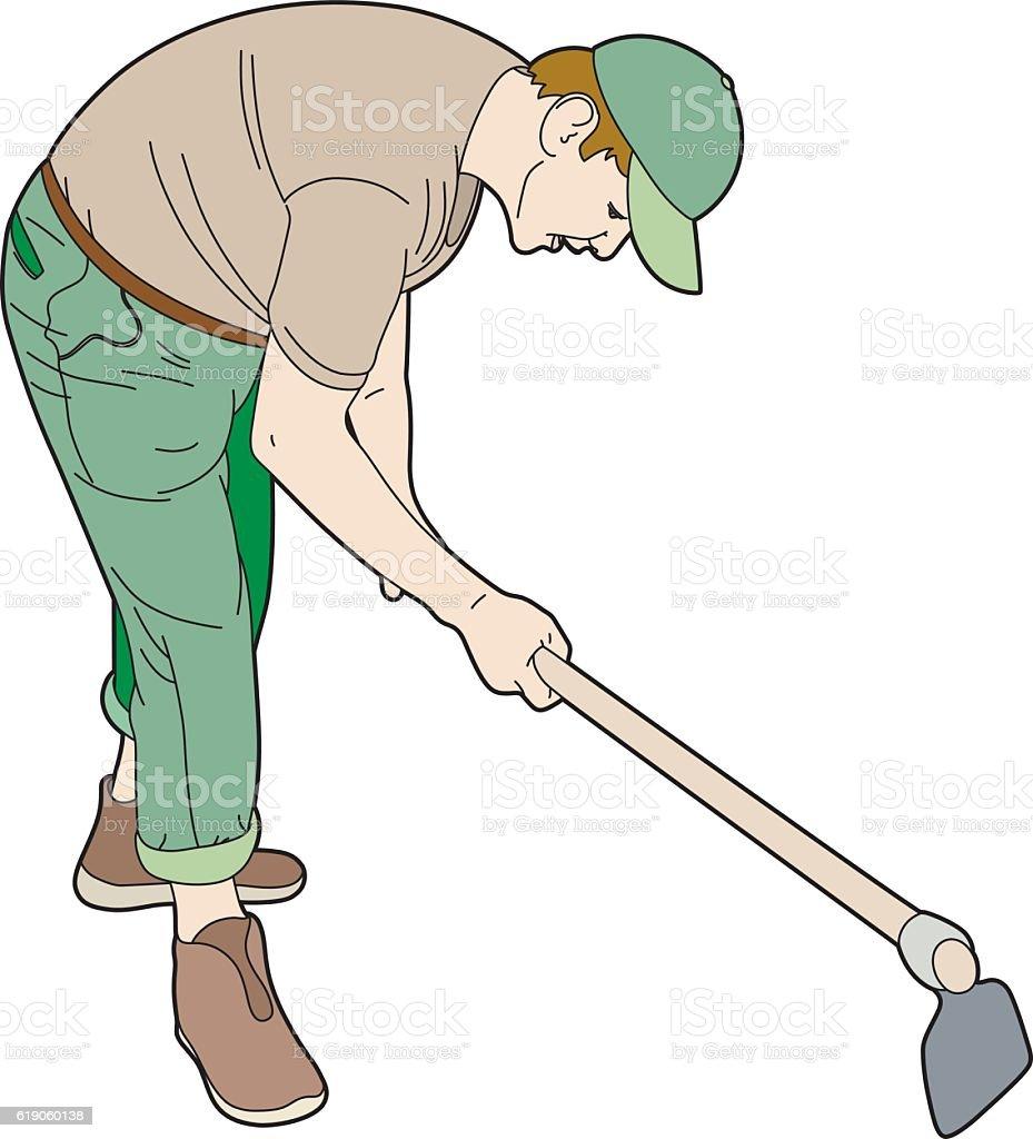 Gardener at work vector art illustration
