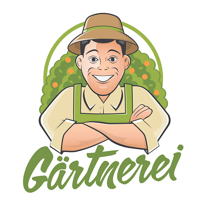 gardener cartoon logo with German text that means gardening