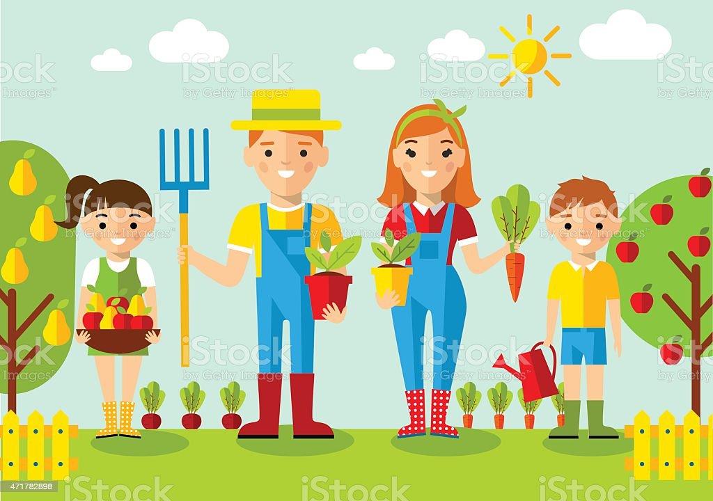 Jardineiro família, jardim, mill e paisagem com conceito de jardinagem - ilustração de arte em vetor