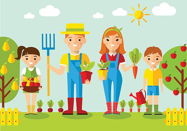 Gardener Family Garden Mill And Landscape With Gardening Concept Vector Art Illustration