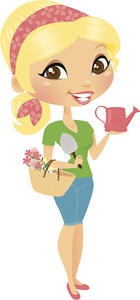 Gardener Girl A cute girl wearing a head scarf and holding a basket of flowers in the nook of her arm, a hand shovel and a watering can. Remove the watering can or se it aside for a simple gesturing hand. heyheydesigns stock illustrations