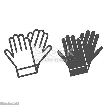 istock Gardener gloves line and solid icon, Garden and gardening concept, rubber glove sign on white background, protection gloves icon in outline style for mobile concept and web design. Vector graphics. 1277473032