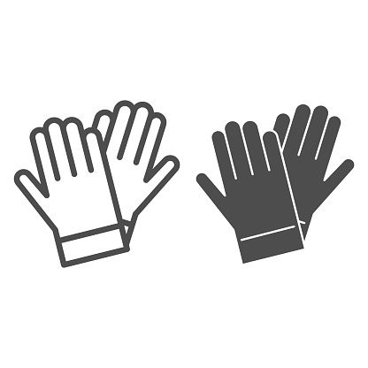 Gardener gloves line and solid icon, Garden and gardening concept, rubber glove sign on white background, protection gloves icon in outline style for mobile concept and web design. Vector graphics