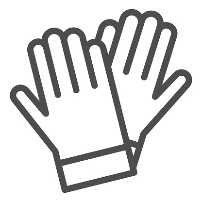 Gardener gloves line icon, Garden and gardening concept, rubber glove sign on white background, protection gloves icon in outline style for mobile concept and web design. Vector graphics