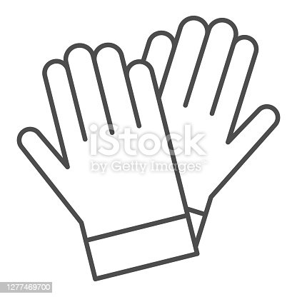istock Gardener gloves thin line icon, Garden and gardening concept, rubber glove sign on white background, protection gloves icon in outline style for mobile concept and web design. Vector graphics. 1277469700