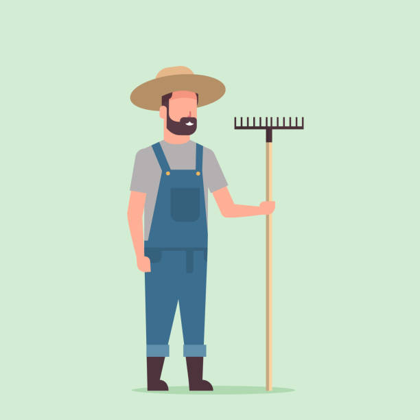gärtner hält rake landmann arbeitet im gartenbau öko-bauernkonzept in voller länge - farmer stock-grafiken, -clipart, -cartoons und -symbole