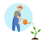 Gardener in circle on blue background. vector illustration Farmer with watering can in flat style. Gardener Man watering sprout.