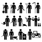 A set of human pictogram representing man using gardening tools such as spade, rake, scythe, watering can, insecticide, lawnmower, trimmer, seeding plant, wheelbarrow, fertilizer, and tractor.