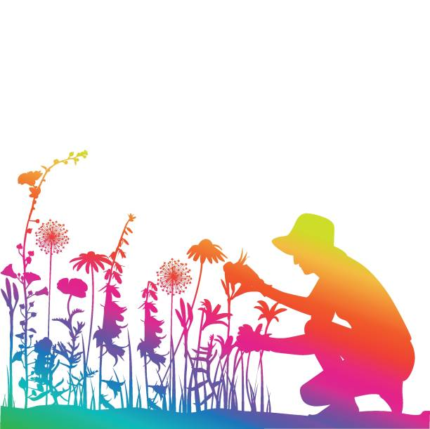 stockillustraties, clipart, cartoons en iconen met tuinman rainbow - vrouw hobby