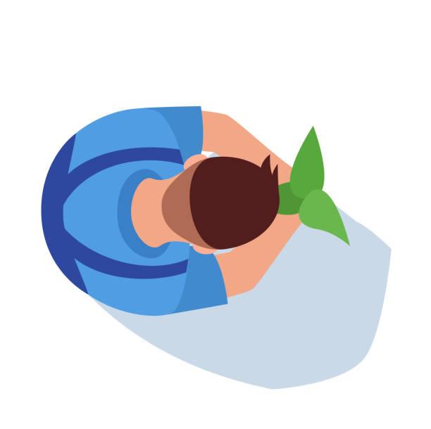 gärtner halb flache rgb-farbvektor-illustration - aerial overview soil stock-grafiken, -clipart, -cartoons und -symbole