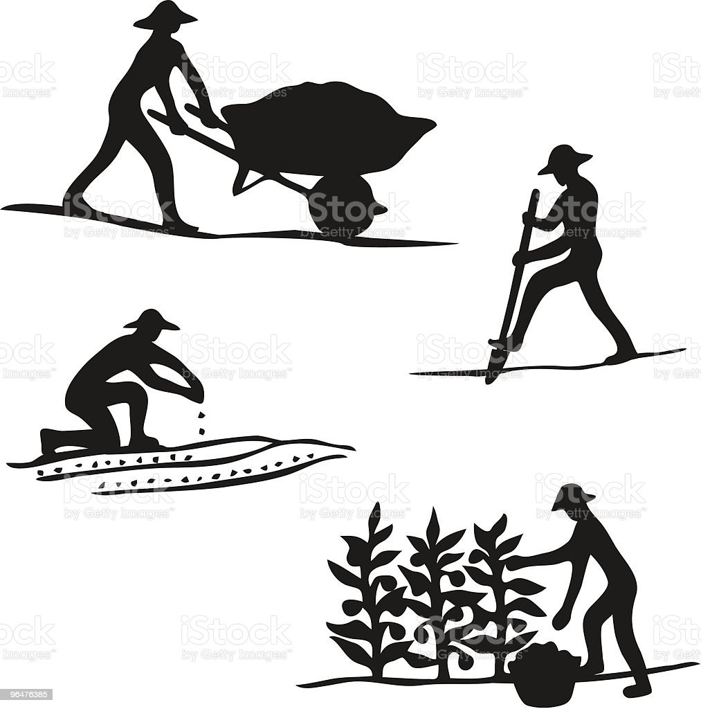 Gardener Silhouettes royalty-free gardener silhouettes stock vector art & more images of agriculture