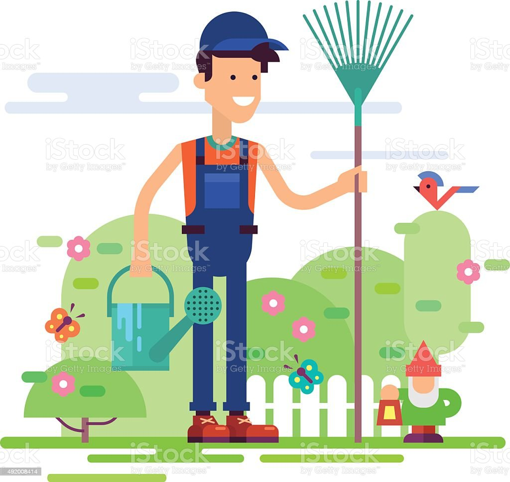 Gardener standing in garden with watering can. vector art illustration